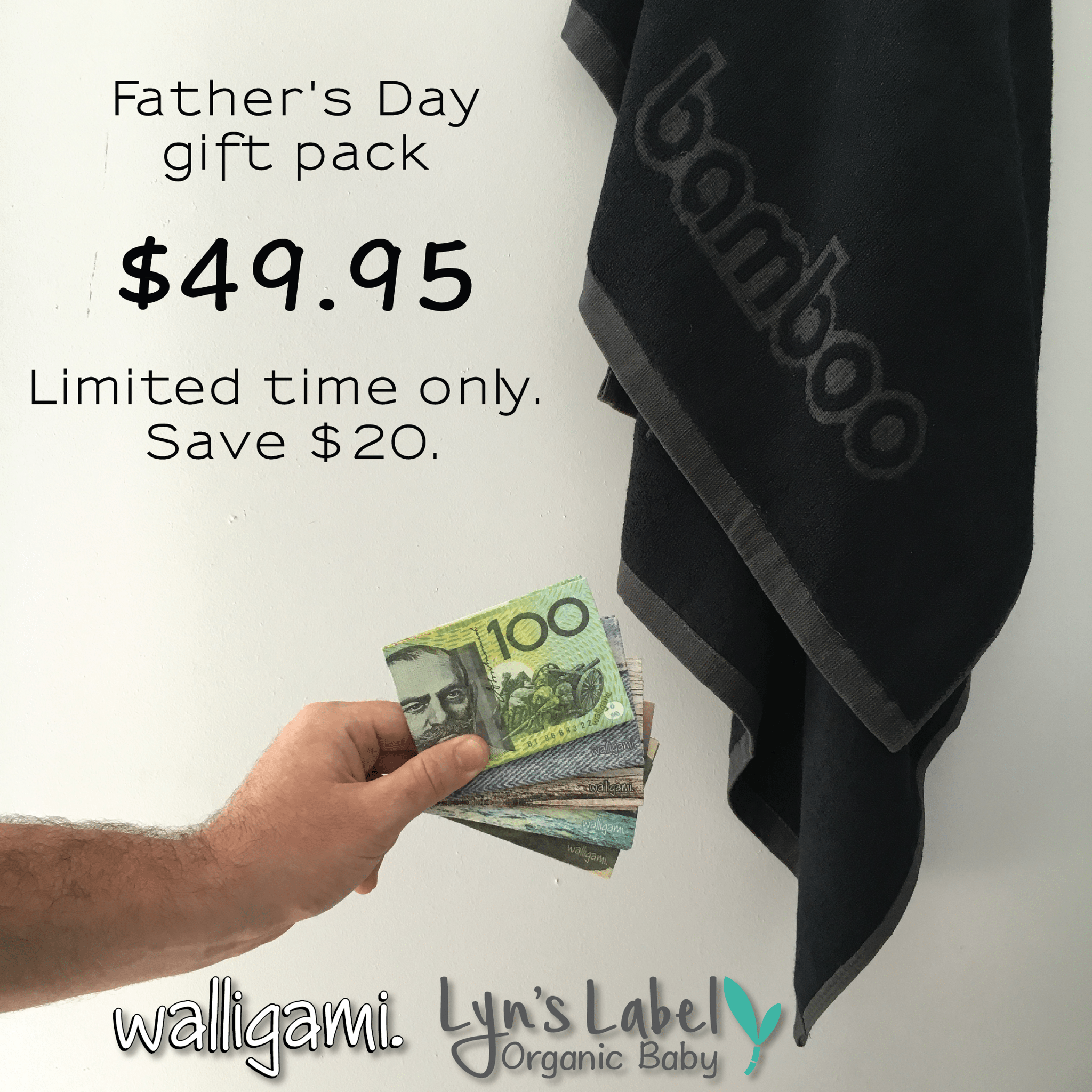 fathers day gift pack, wallet, towel, bamboo